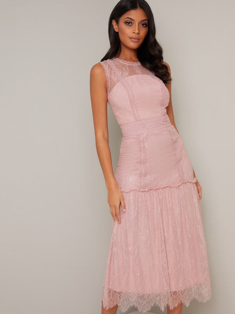 Tall Vintage Lace Design Drop Hem Midi Dress in Pink