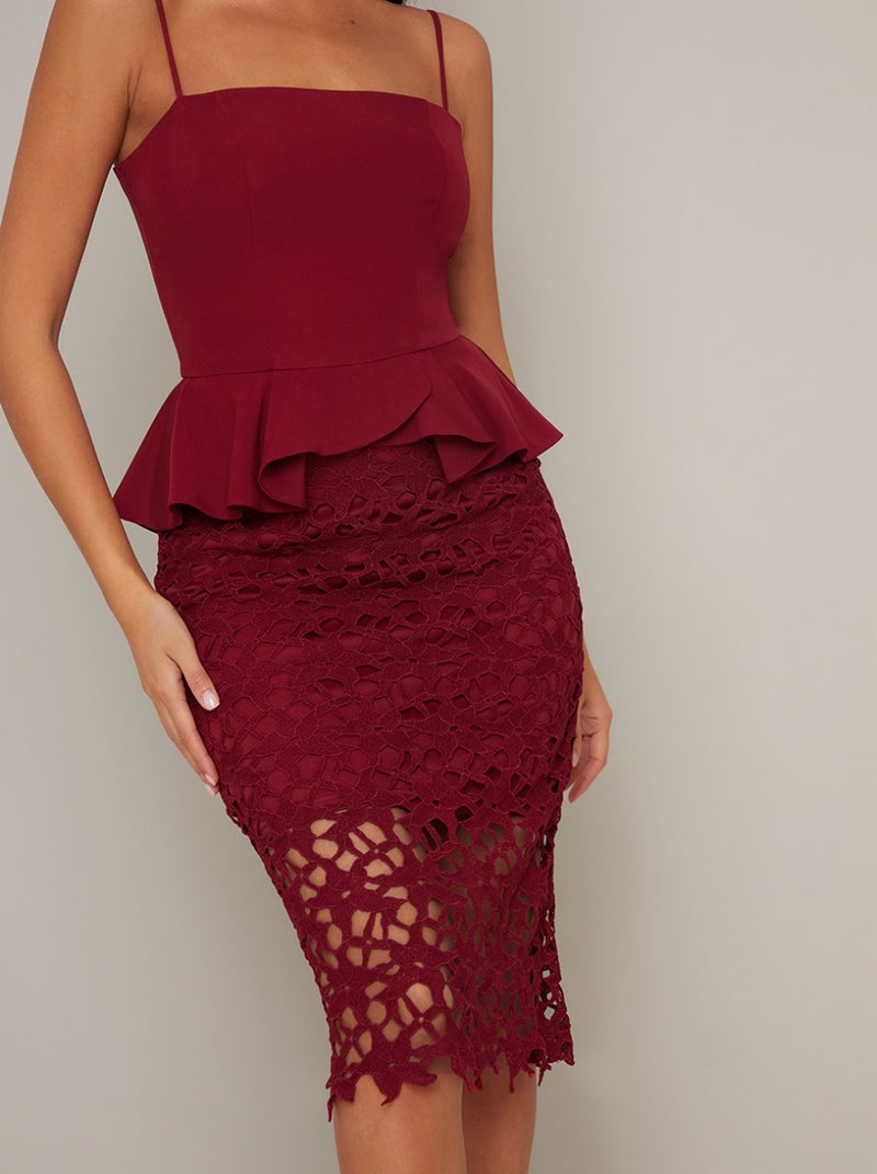 Cami Strap Peplum Bodycon Lace Midi Dress in Red