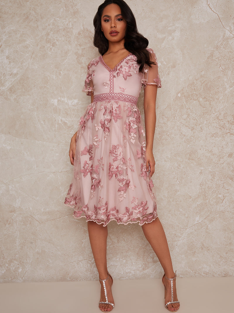 Embroidered Floral Midi Dress in Pink