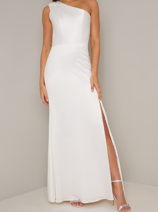 Bridal Lace One Shoulder Maxi Dress in White