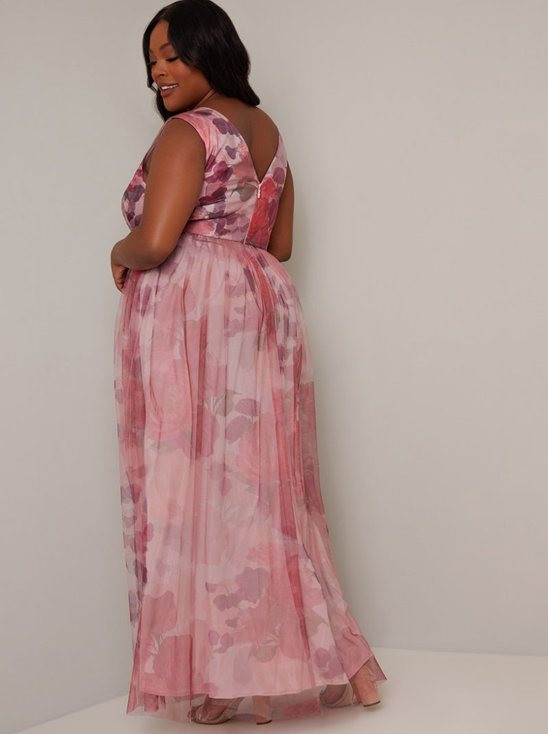 Plus Size Floral Print Tulle Maxi Dress in Pink