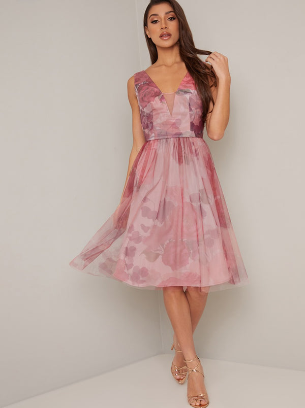 Floral Print V Neck Tulle Skirt Midi Dress in Pink
