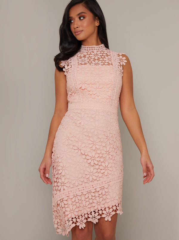 Petite Lace Crochet Bodycon Dress in Rose Gold