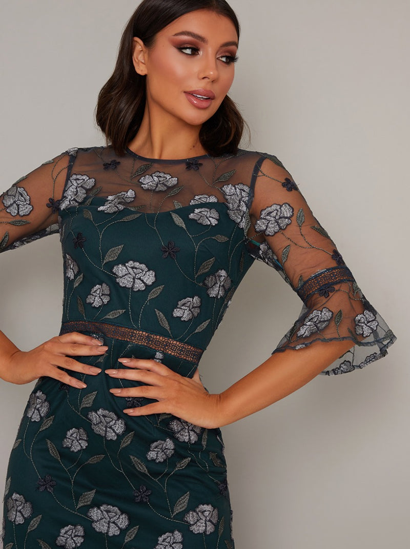 Embroidered Bodycon Dress with Bardot Design in Green
