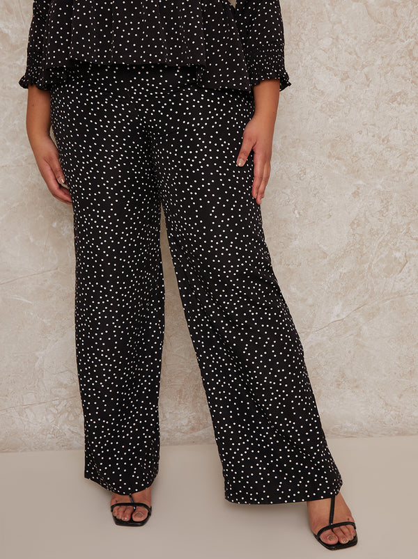 Plus Size Polka Dot Wide Leg Trousers in Mono