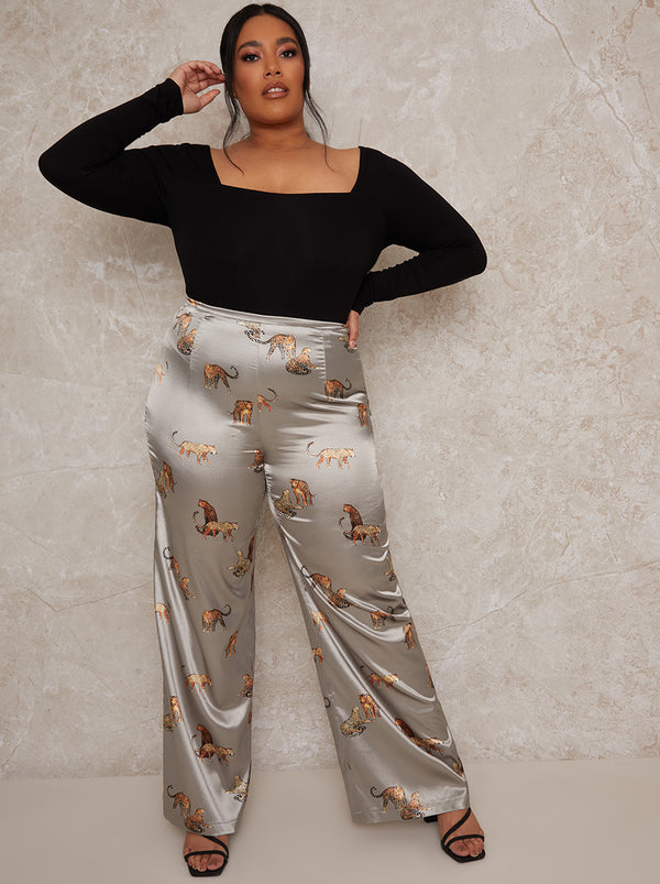 Plus Size Wide Leg Print Trousers in Green