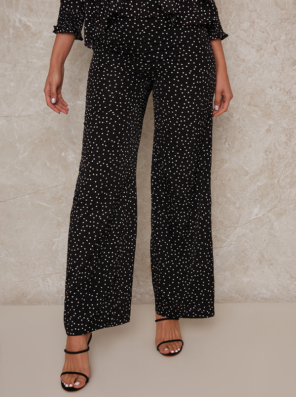 Wide leg Polka Dot Print Trousers in Mono