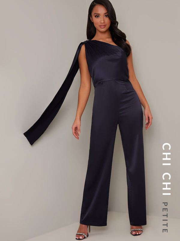 Petite Drape Detail Straight Leg Jumpsuit in Blue