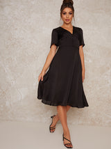 Midi Day Dress with Angel Sleeves in Black