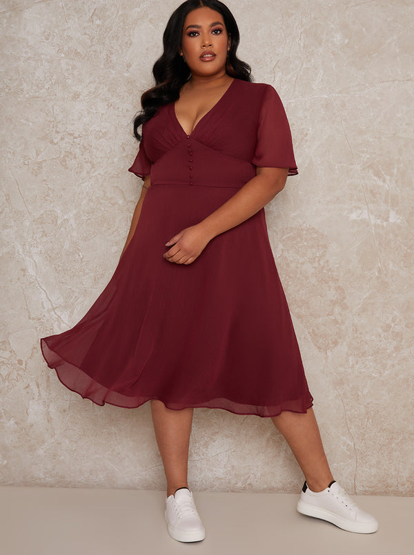 Plus Size Cap Sleeve Midi Ruffle Dress in Red
