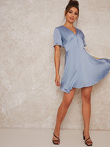 Satin Feel Button Detail Mini Dress in Blue