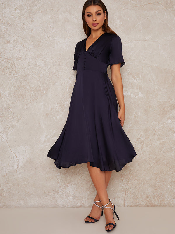 Angel Sleeve V Neck Silky Midi Dress in Blue