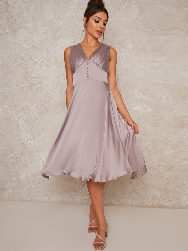 Satin Finish Sleeveless Midi Dress in Purple