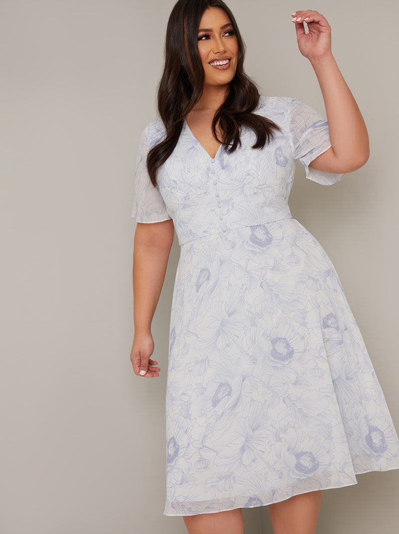 Plus Size Floral Day Dress with Chiffon Sleeve in White
