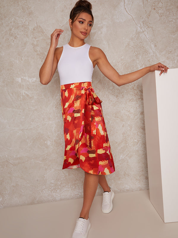 Abstract Print Wrap Midi Skirt in Bright Multi