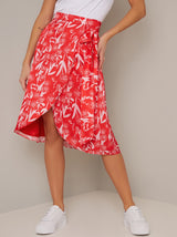Frill Detail Print Midi Dress in Red