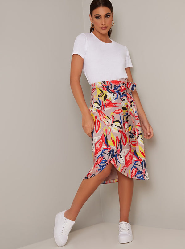 Wrap Style Tropical Print Midi Skirt in Brown