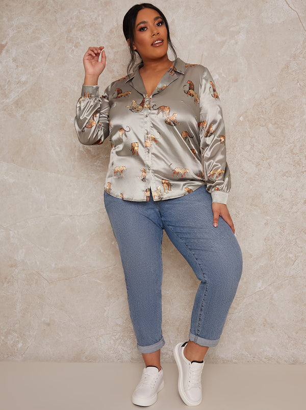 Plus Size Printed Satin Long Sleeve Shirt in Green