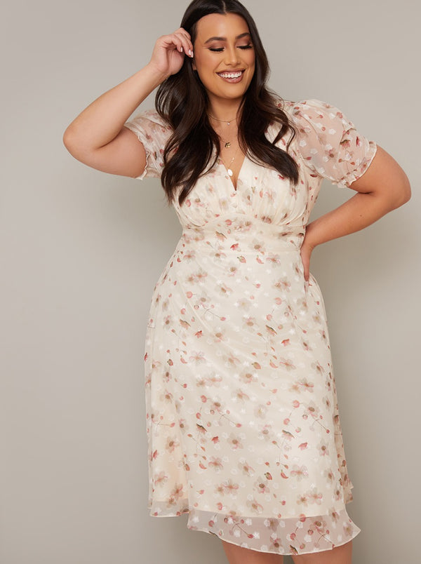 Plus Size Puff Sleeve Print Midi Dress in Cream