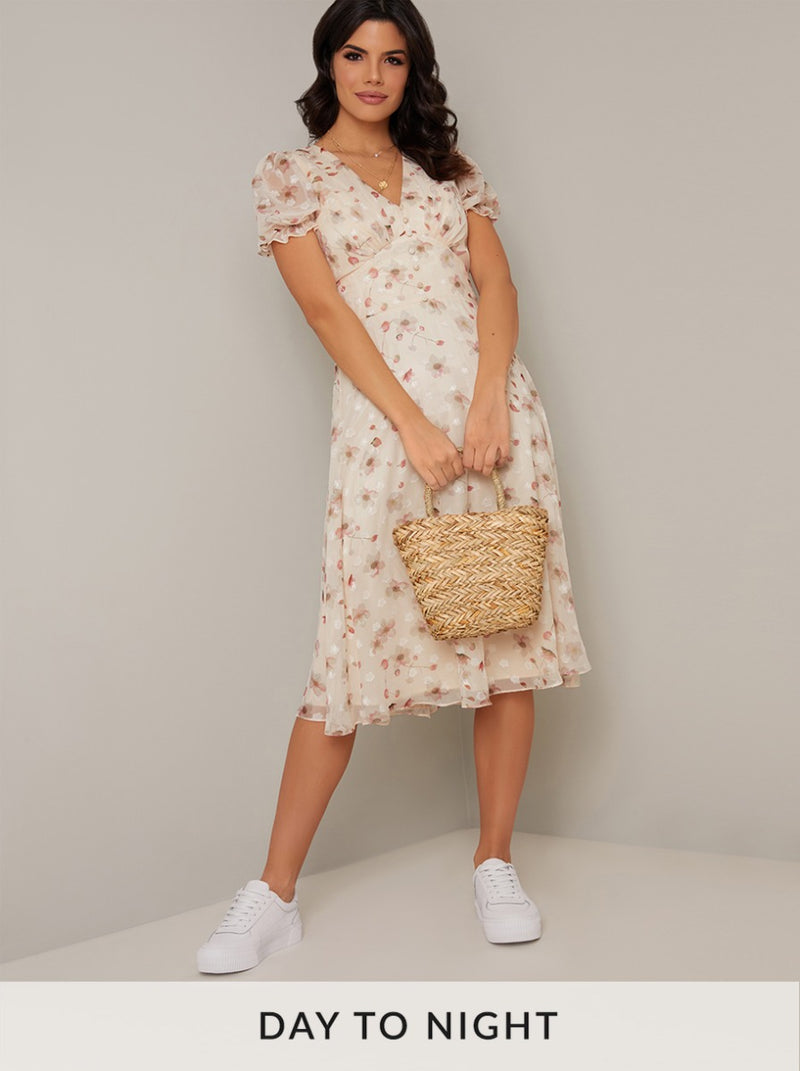 Jaquard Floral Print Day Dress in Cream
