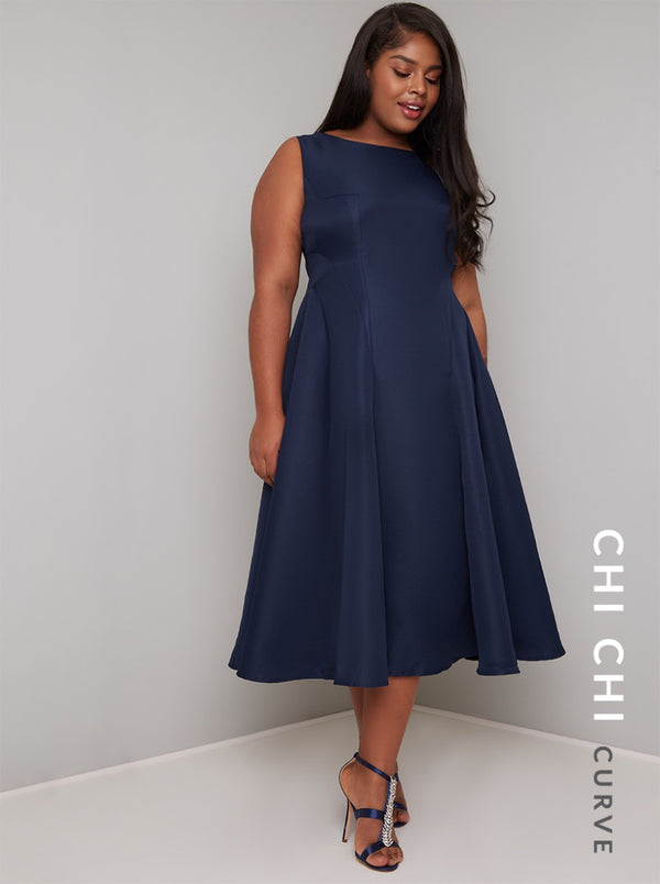 Plus Size Fitted Bodice Midi Dress in Blue