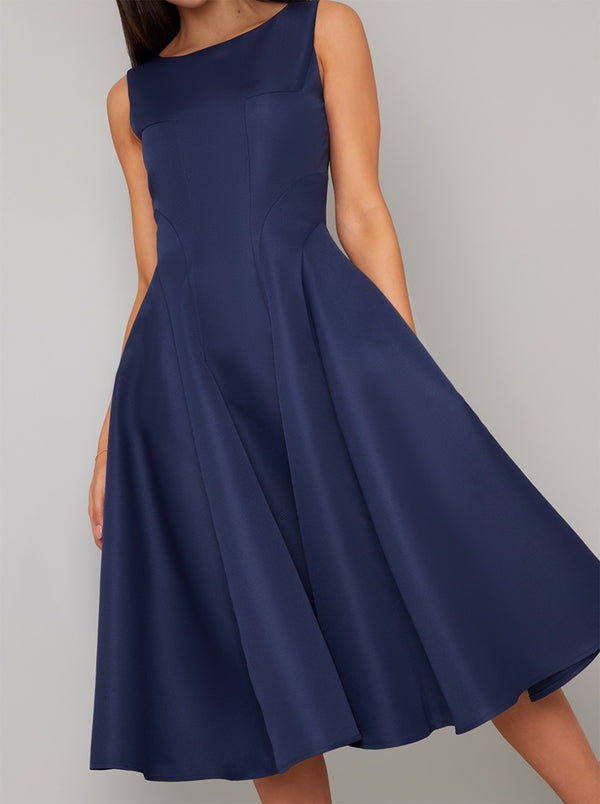 High Neckline Plain Midi Dress in Blue