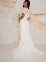 Petite Bridal Lace Bodice Maxi Wedding Dress in White