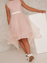 Girls Tulle Skirt Dress With Bow Back In Pink