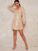 Wrap Long Sleeve Sequin Mini Dress in Gold