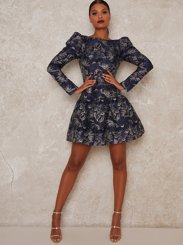 Long Sleeve Jacquard Mini Dress in Blue