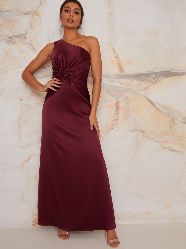 One Shoulder Satin Finish Maxi Bridesmaids Dress in Red