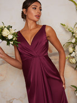 Satin Finish Wrap Detail Maxi Dress in Berry