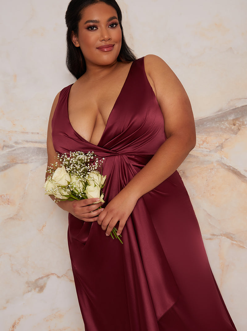 Plus Size Satin Wrap Bridesmaids Maxi Dress in Berry