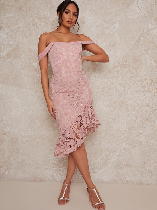 Crochet Bardot Midi Dress in Pink