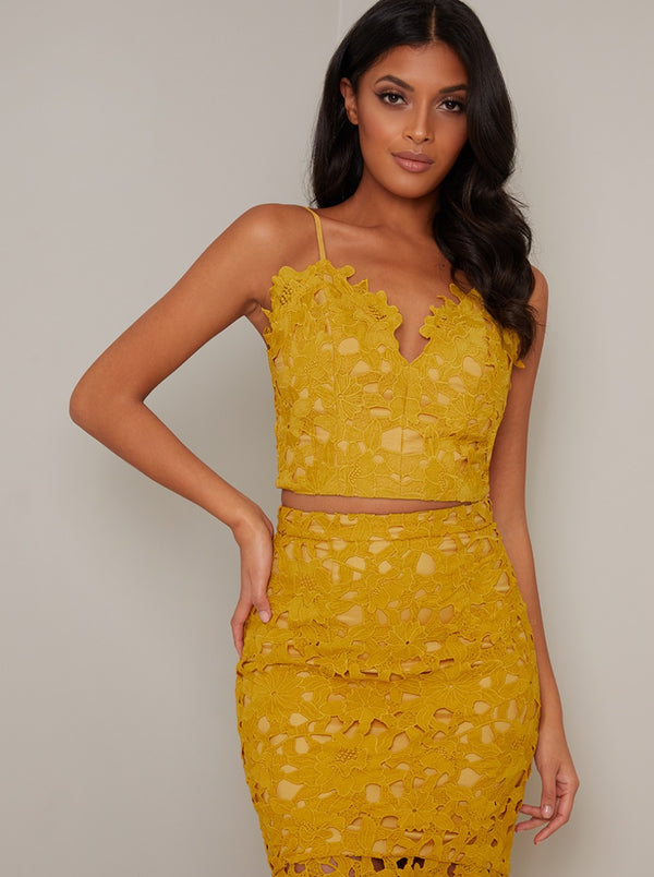 Cami Strap Lace Crochet Crop Top in Yellow