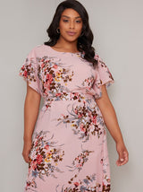 Plus Size Ruffle Sleeved Floral Midi Dress in Pink