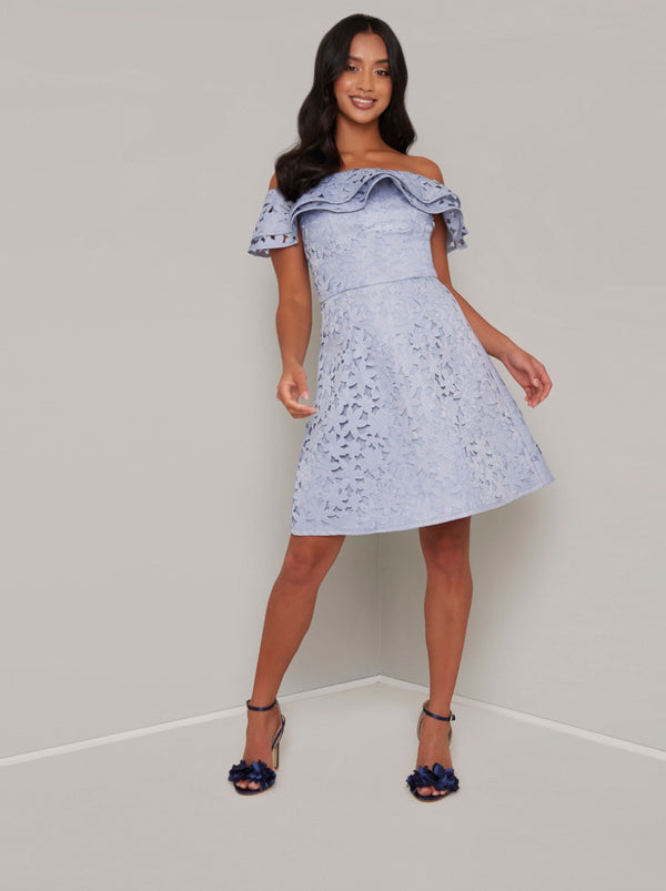 Petite Laser Cut Mini Dress with Floral Design in Blue