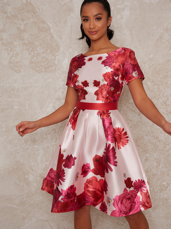 Petite Midi Dress with Floral Print in Pink