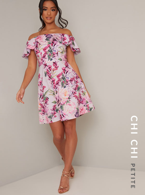 Petite Bardot Frill Floral Print Mini Dress in Pink
