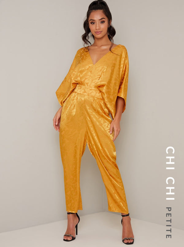 Petite Batwing Straight Leg Jumpsuit in Yellow