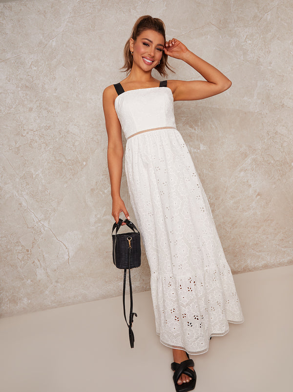 Crochet Maxi Dress in White