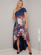 Maternity Printed Dip Hem Midi Dress in Blue