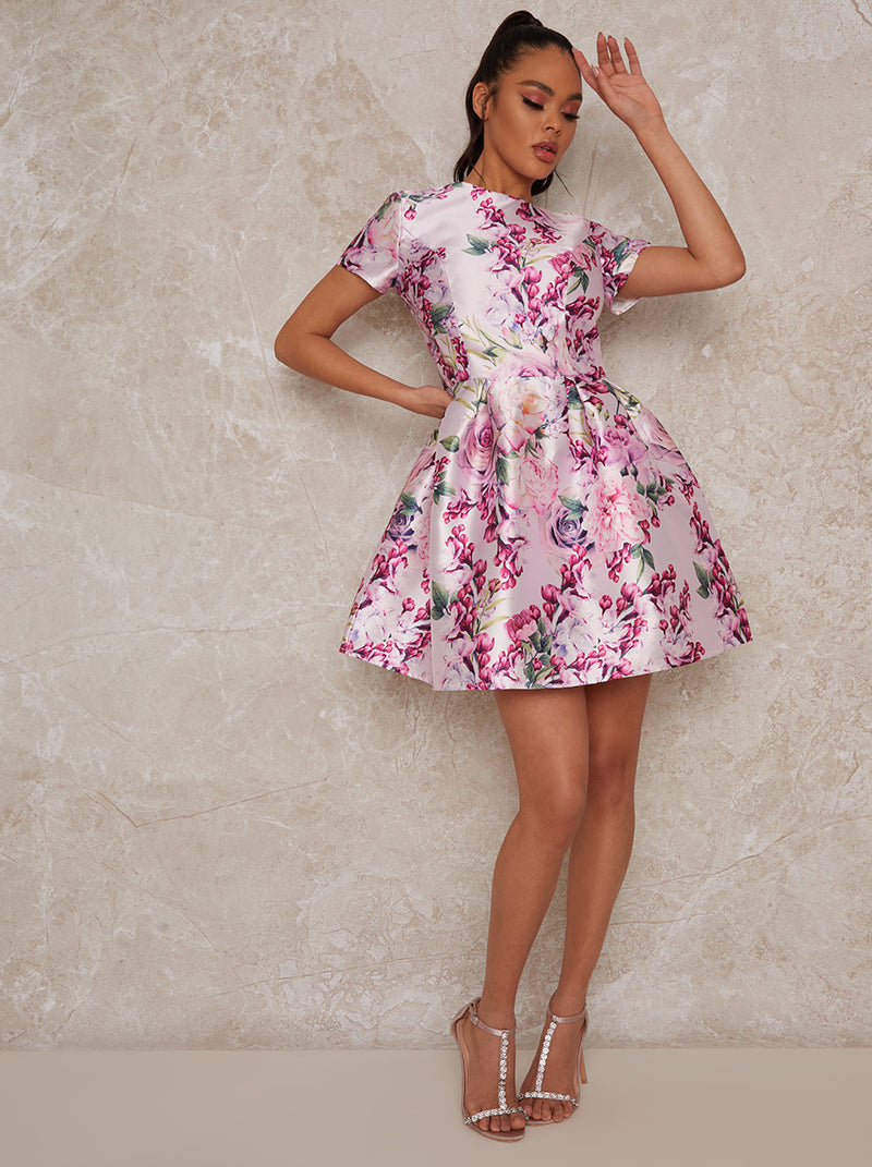 Short Sleeved Mini Floral Skater Dress in Pink