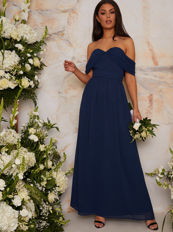 Bardot Draped Chiffon Bridesmaid Maxi Dress in Blue