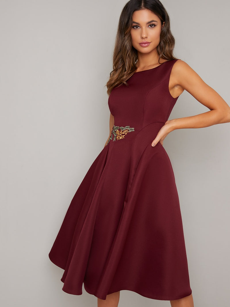 Applique Skater Midi Dress in Red