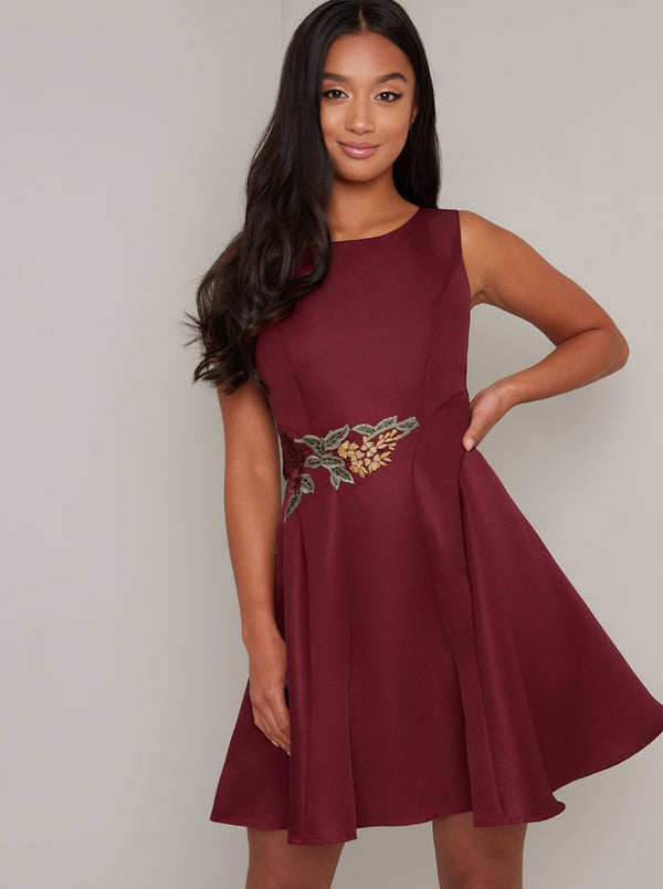 Petite Lace Detail Skater Mini Dress in Burgundy