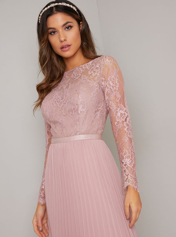 Tall Long Sleeved Lace Bodice Pleat Maxi Dress in Pink