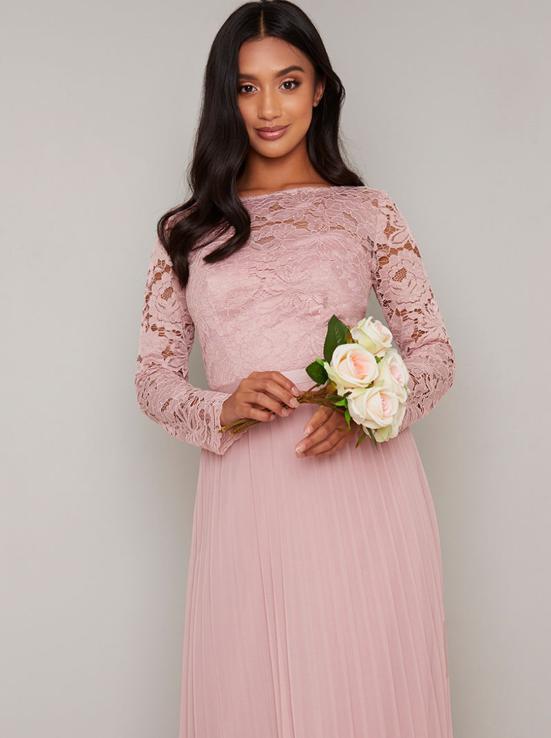 Petite Long Sleeved Lace Pleat Maxi Dress in Pink