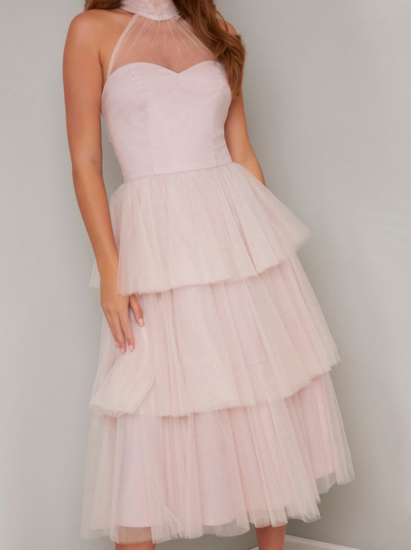 Tulle Tiered Midi Dress in Pink