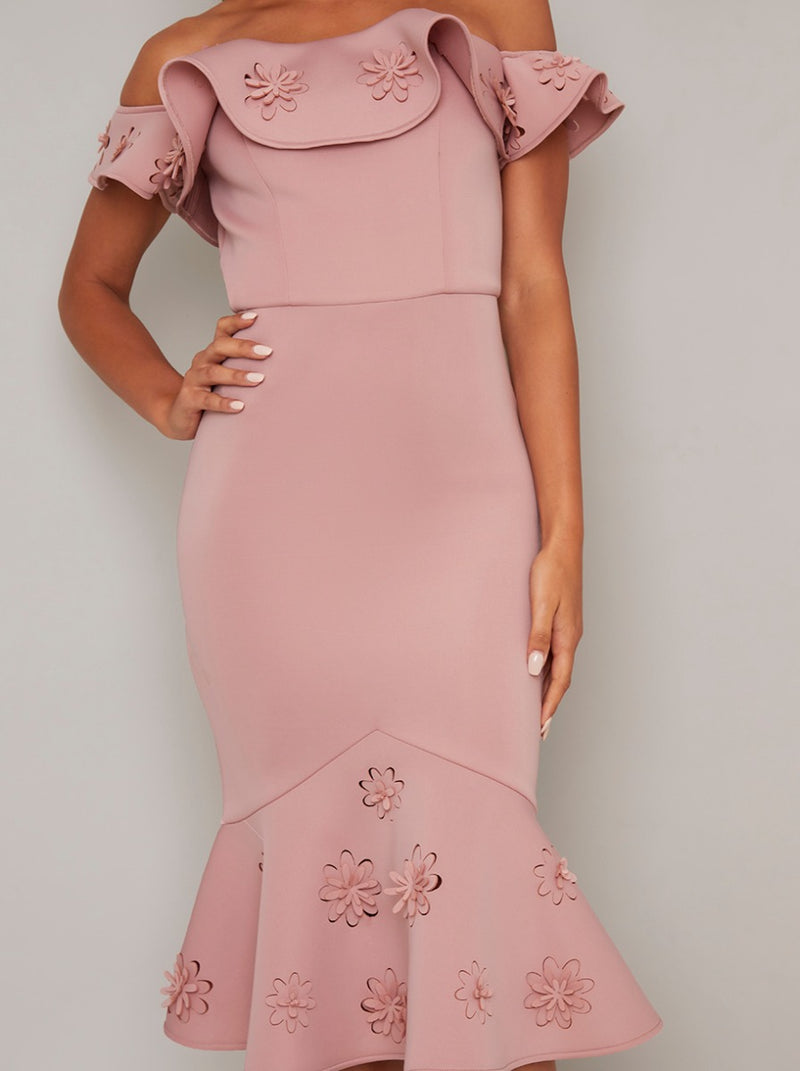 Laser Cut Floral Bardot Bodycon Dress in Pink